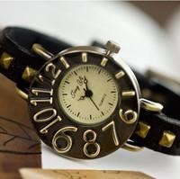 HOT!2013 New Arrival Fashion Dail Wholesale 50pcs/lot  Unisex Watches Cow Leather Band, Wrist Quartz, Multi colorful,  LLW-J1001