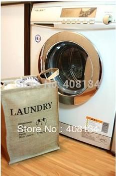 Free shipping foldable retro jute organizer storage bag vintage Eco-Friendly socks Clothing bag Laundry Bags & Baskets 4 Designs