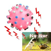 Free shipping Colorful Brand New Pet Toy Rubber Ball Dog Chew Throw With Sound Squeaker Ball