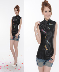 Tang suit top partial lapel embroidery black dragonfly women's summer 0025 short-sleeve cheongsam top(China (Mainland))