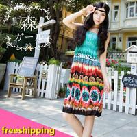 NEW 2014 summer national wind wheels Hawaiian print dress with shoulder-straps Bohemian dress beach dress+free shipping