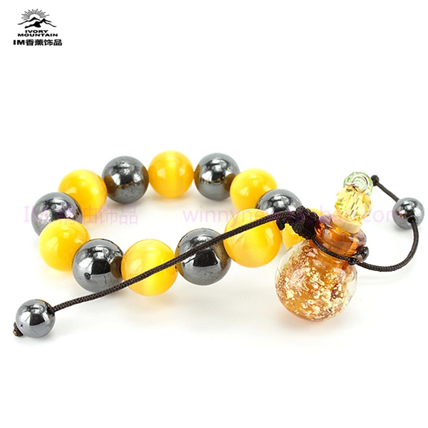 GZ Im accessories vibrant colors - eye colored glaze essential oil bracelet hematite perfume bottle pendant xianglian(China (Mainland))