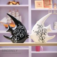 Modern brief ceramic decoration home ceramic crafts swallow fish crafts
