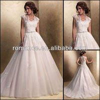 2013 Design Chapel Train Organza Modest Short-Sleeves Lace Gown Wedding Dress With Jacket WE096