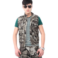 men's army clothing Men's clothing camouflage outdoor Camouflage multi-pocket vest male vest spring and summer casual