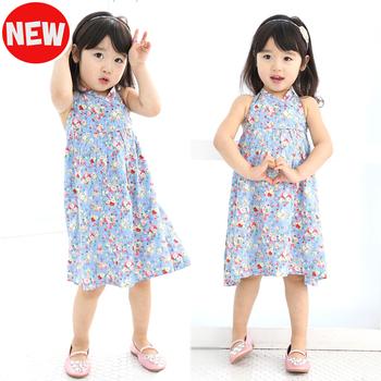 Free Ship 2013 girl beach dress one-piece dress blue 3-8T  4Sizes