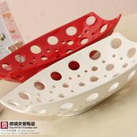 Fashion fashion modern ceramic supplies cutout rectangle fruit plate candy tray crafts