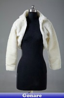 SL016 Gonare New Ivory Faux Fur Coat Wrap Long Sleeve Jacket Bridal Short Shrug Bolero Wedding Accessories Bride Shawl