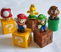 Cute Super Mario Brothers Luigi Goomba Mini Cake Topper Figure Figurine Toys Set of 5pc