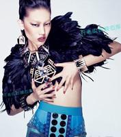 Luxury topshop beautiful black swan mixed feather vintage royal cloak short jacket