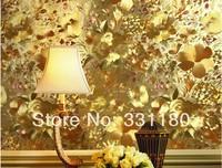 Metallic gold background pvc embossed wall wallpaper roll metallic gold  tecido papel de parede para quarto com glitter