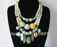 2013 New Arrival Unique Design Fashion Choker Multicolor Charms Chunky Bib Handmade Statement Necklace For Women