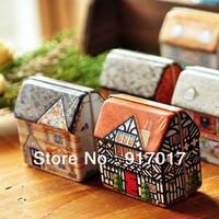 Free shipping 1 set  (6pcs each set ) random European retro Mini all painted small house box 64X54X33mm candy box