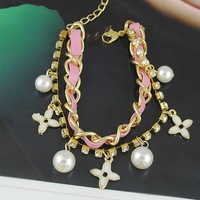 Min.order is $10 Mix Order Fashion Pearl Flower Ball Bracelet Bangle B1210