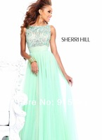 High quality bateau neckline beads rhinestone ruffle chiffon sweep train sexy prom party gowns shining