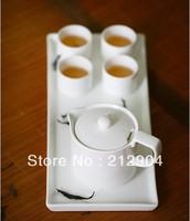 Free Shipping 2014 New Kung Fu White Plain Bone China Creative Teapot Cup Set Ceramic Gift