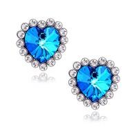 2013 Hot sale Titanic heart of the ocean Earrings fashion Zircon Elegant Peach women stud earrings wholesale Free Shipping