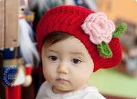 Free shipping Yarn flower hat little princess baby hat cap beret