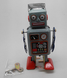 Wind Up Metal Wire Walking Robot Tin Toy Clockwork Mechanical Gift Vintage E1766(China (Mainland))