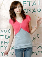 2013 women's spring solid color buckle short-sleeve cape sweater r227 Free shipping
