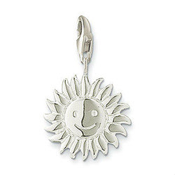 Hot Sale Silver Plated Smile Face sun charm(China (Mainland))