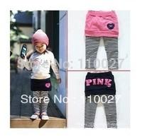 2014 baby pantskirt girl striped leggings tutu PINK pants fashion cotton trousers 5pcs leg warmer kids warm leg tight kids wear