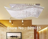 Modern Minimalist LED K9 Crystal Rectangular Ceiling Lamp Living room Dining Room Chandelier Remote Control Light
