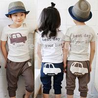 Free shipping summer car boys clothing girls clothing baby child short-sleeve set tz-0660 (CC019)