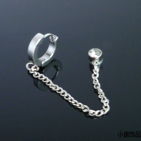 Punk medical steel chain long design ear buckle titanium magnet stud earring stainless steel earclip earring(China (Mainland))