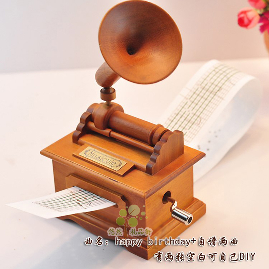 Diy graphophone wool hand music box music box birthday gift(China (Mainland))