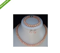 8-9mm pearl necklace&earrings&bracelet sets pink