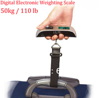 free ship 1pc 50kg 110lb Pocket Portable Hanging LCD Digital Electronic Luggage Fishing Balance Weighting Scale Fish Hook Waage