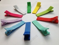 "1 3/4""(45mm) Solid Ribbon Covered Lined Alligator Girl Hair Clip 100pcs headwear"