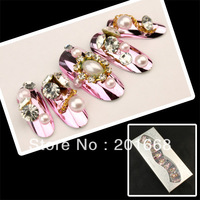 10pcs light purpe gem Predesign Nail Tips with Rhinestone glitter mirror nail for DIY manicure new NA652D