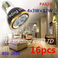 16Pcs/lot Par20 Led Lamp E27 Dimmable 4X3W 12W Spotlight Led Light Led Bulbs 85V-265V Energy Saving Free shipping