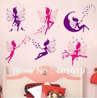 "28""*40"" (70x100cm) JM8259 magic Fairy Wall Sticker Tinkerbell PVC Cartoon Room Decal Removable Resell Packing Nursery Murals"