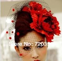 Free shipping!2013 New Bridal Birdcage black Veil, Party Headdress,red flower veil ,Wedding Accessory