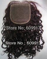 100% Human hair silk base closure 4X4 inch silk top brown curl high quality retail and wholesale