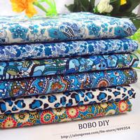FREE SHIPPING 6pieces/lot  50cm*50cm Cotton Poplin Fabric Blue Floral Group B20131189