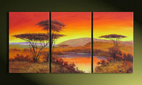 canvas oil painting ,Abstract oil painting,oil on canvas,the combination of three paintings,African sunset views Family Art Deco