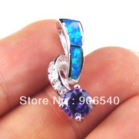 925 Silver Blue Opal Ring With Tanzanite Color CZ DR029423P-a Free Shipping