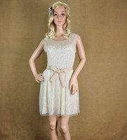 2014  new arrival nibbuns  fashionable lace chiffon  mini dress women's O-neck casual  vintage dress   free shipping DS082