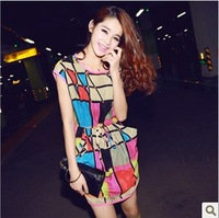 New arrival women's loose fashion multicolour plaid slim waist chiffon one-piece dress