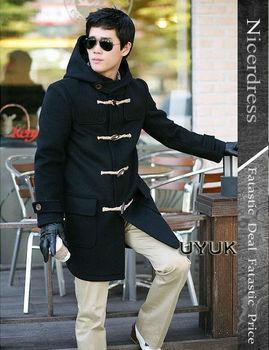 Graceful Oxhorn Buttons Design Long Sleeves Woolen Hooded Long Overcoat For Men