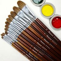 Wood rod weasel hair gouache pen acrylic paint brush oil painting pen 6 set semi-cirle