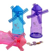 Free shipping,Creative transparent windmill piggy bank color random