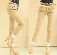Spring roll up 2013 lace hem casual skinny pants harem pants female trousers summer pants