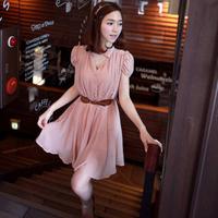 2013 summer women's slim waist chiffon skirt summer dress short-sleeve chiffon one-piece dress female free shipping