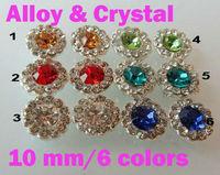 10pcs 10mm 3D Alloy  Crystal Flower Nail Art Decoration Rhinestone Glitters decoration 6 colors freeshipping#1263