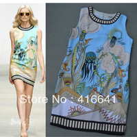 2013 New 100% silk sleeveless runway dress, boutique dress